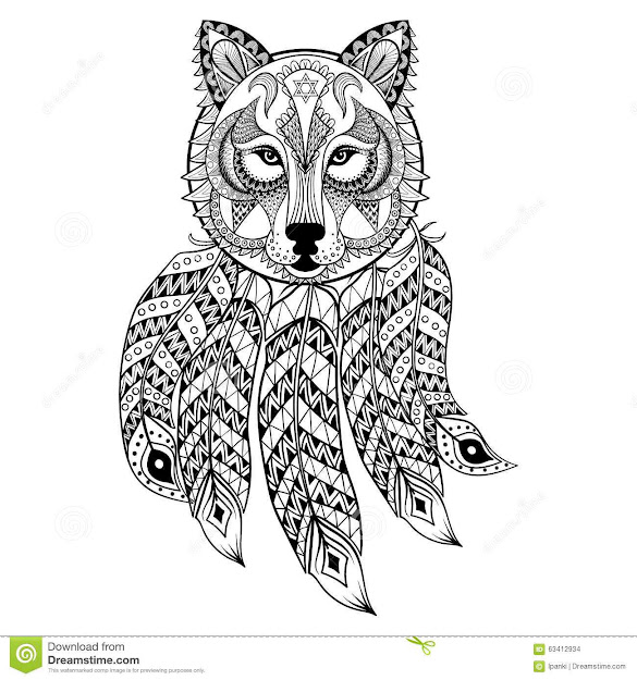 Wolf Dream Catcher Coloring Page Coloring Pages