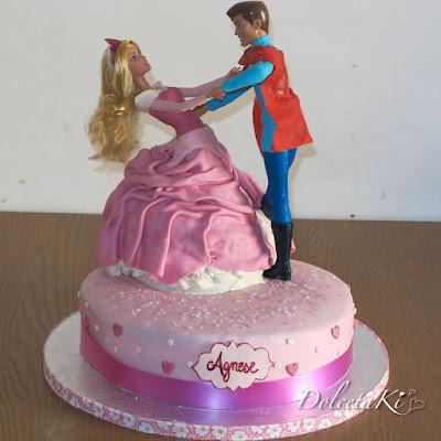 torta vestito aurora e principe