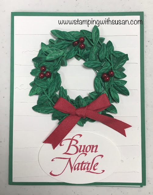 Stampin' Up!, www.stampingwithsusan.com, Leaf Ribbon, Christmas Wreath