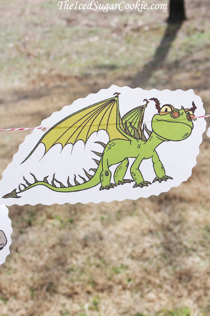 How To Train Your Dragon Birthday Party DIY Birthday Party Idea-Toothless, Hiccup, Astrid, Ruffnut, Tuffnut, Gobber, Terrible Terror-Garland Flag Bunting Banner
