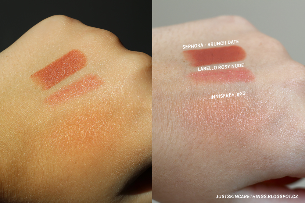 makeup swatch innisfree labello sephora lipstick blush