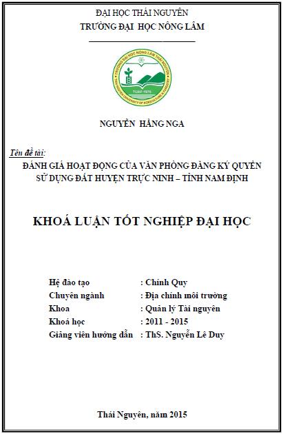 Đánh giá hoạt động của Văn phòng Đăng ký quyền sử dụng đất huyện Trực Ninh tỉnh Nam Định