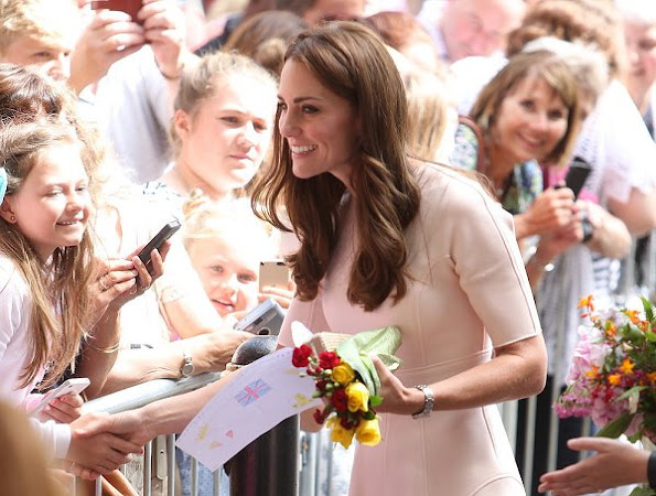 Prince William and Kate Middleton visited Truro Cathedral and Zebs Youth Centre as part of their day-long tour of Cornwall, Kate wore Lela Rose elbow sleeve dress, L.K. Bennett Natalie Clutch, and Monsoon Fleur wedges