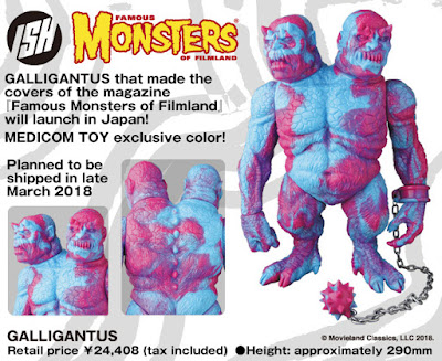 Medicom Toy Exclusive Galligantus Pink & Blue Marbled Edition Vinyl Figure by Justin Ishmael x Famous Monsters of Filmland