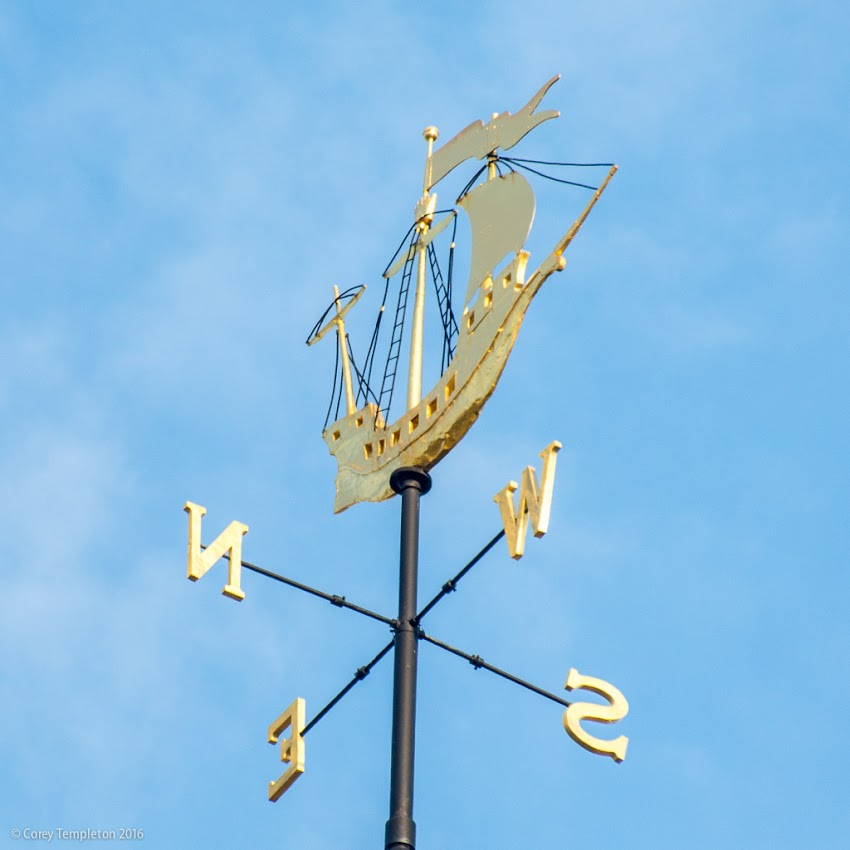 "Portland, Maine USA June 2016 photo by Corey Templeton. A closeup of the ship-shaped weathervane atop Portland's City Hall. According to this source, it was installed in 1914 and ""is fashioned after a 15th century sailing ship."""