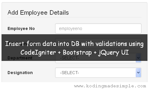 codeigniter bootstrap insert form data into database validations