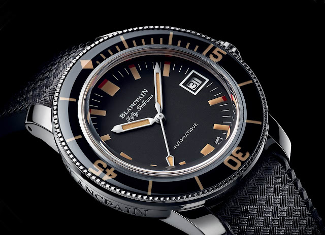 The dial of the Blancpain Fifty Fathoms Barakuda