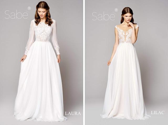 Atelier SABE suknie ślubne. Kolekcja 2019 Ethereal Suknia ślubna, biała, długa,dlugi rękaw, ramiączka.