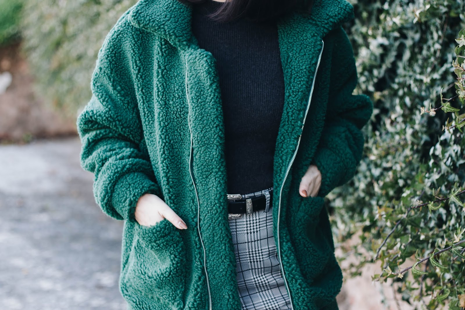 "I love fuzzy coats and I could literally wear them during the whole winter. My ""bear coats"" collection just got a little bigger with this green teddy jacket. So, this is a suggestion of an outfit where the main star is the green jacket, but also sharing the spotlight with my plaid pants (both of them from Shein) - they're a little more formal than what I'm used to, but combined in an extremely casual, comfy and ""very me"" way."