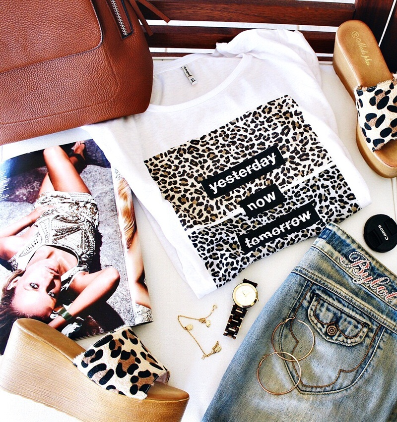 leopard print fashion trend, leopard printed shirt and leopard flat mules