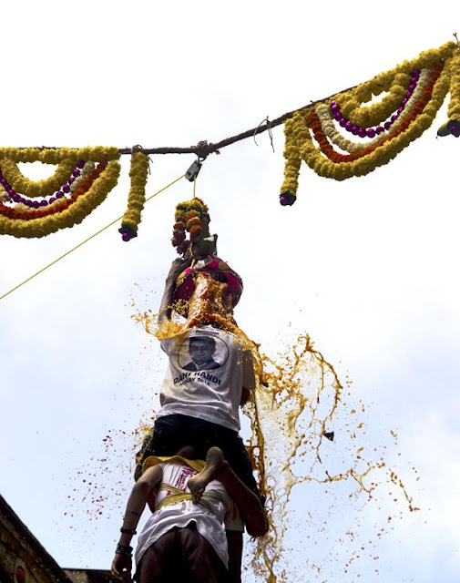 skywatch, dahi handi, krishna, birthday, celebration, breaking the pot, dull sky, event, mumbai, india,