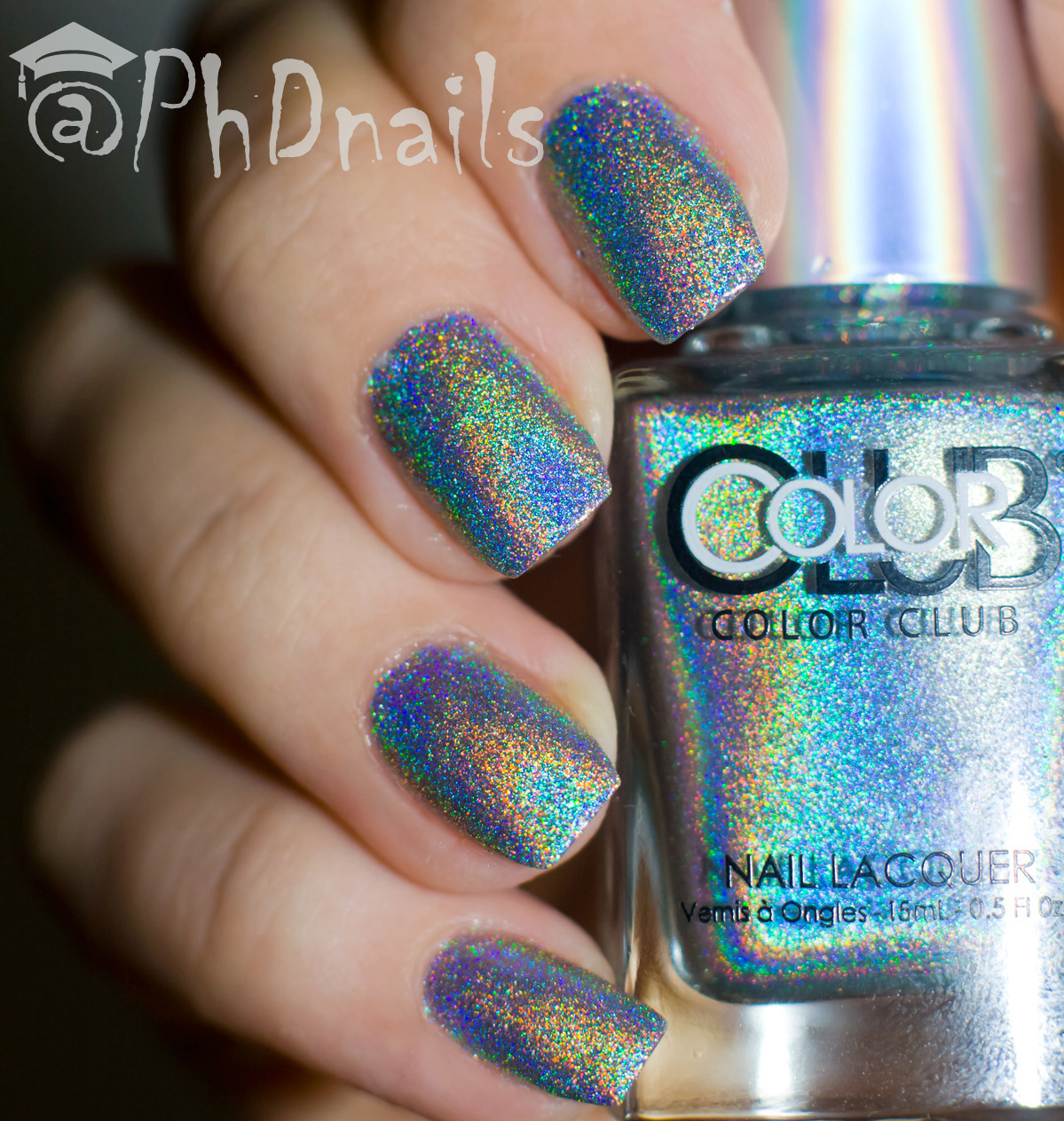 Color Club Holographic Nail Polish Swatches: PhD Nails: Color Club Harp On It Swatch And Stamping Nail