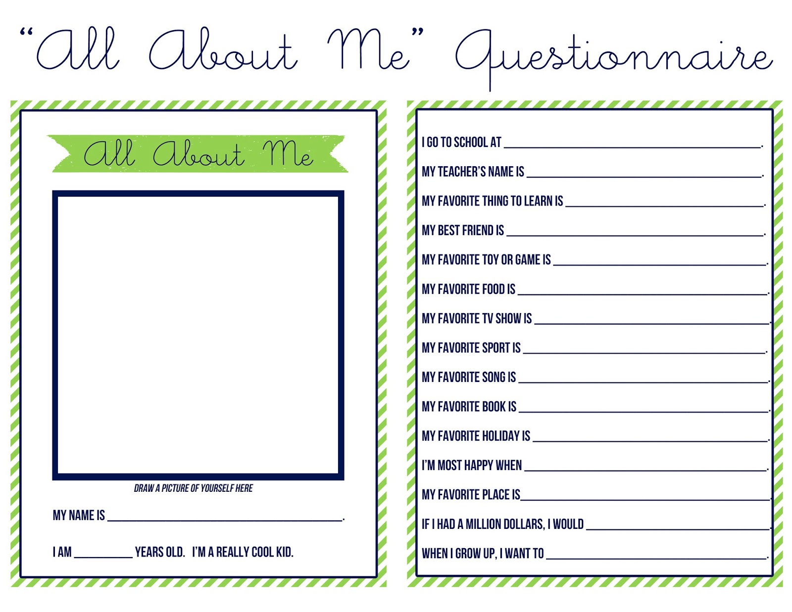 about me template for students - just peachy designs all about me questionnaire