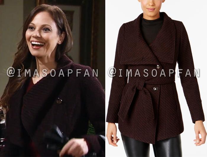 Kim Nero, Tamara Braun, Purple Asymmetrical Belted Coat, General Hospital, GH
