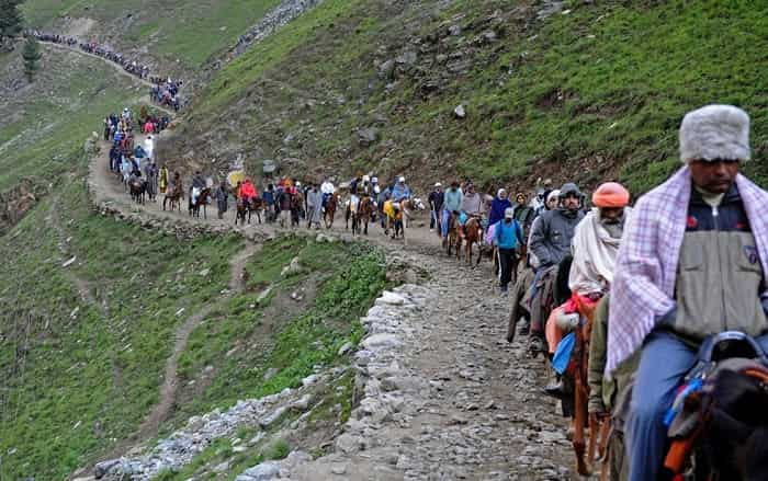Devotees on their way to Amarnath Cave Temple