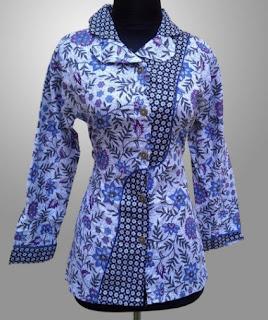 Model Baju Batik Kantor Wanita Berjilbab gaya masa kini