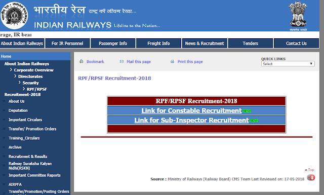 RPF SI Recruitment 2018: RRB Railway RPF Vacancy | 1120 Vacancies | rpfonlinereg.co.in