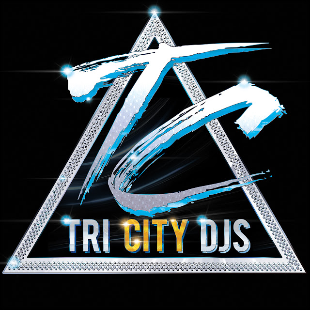 Tri City DJs Silver and Blue Logo Design on Triangular Technics 1200 Turntable Platter