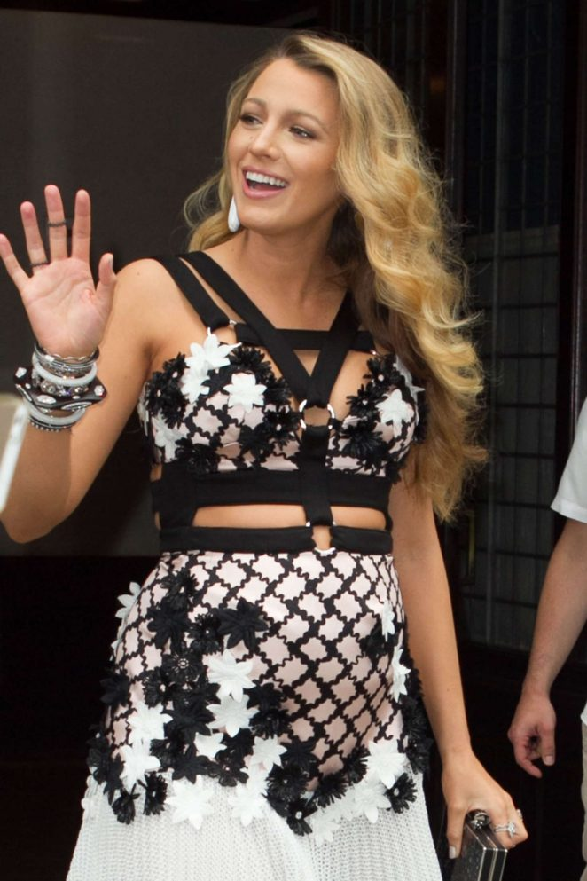 Blake Lively wears suspender accented floral frock in NYC