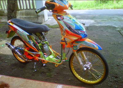 Modifikasi Honda Beat Full Airbrush Orange