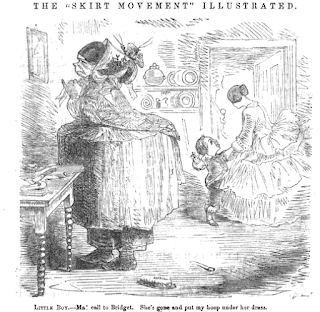 """The 'Skirt Movement' Illustrated"", 1856 satire from Peterson's Magazine"