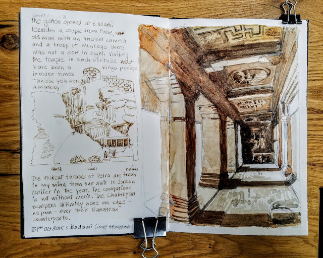 SUnil Shinde Sketches Oct 2015 Badami Cave Temples, India