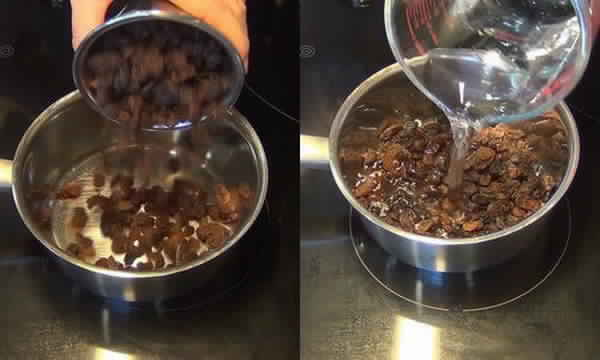 les raisins sec avec de l'eau