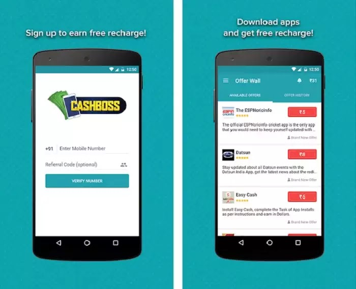 Cashboss - Earn cash & Free Recharge