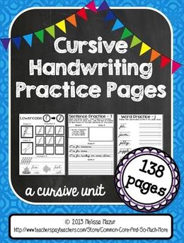 http://www.teacherspayteachers.com/Product/Cursive-Handwriting-Practice-Pages-A-Cursive-Unit-138-Pages-729702