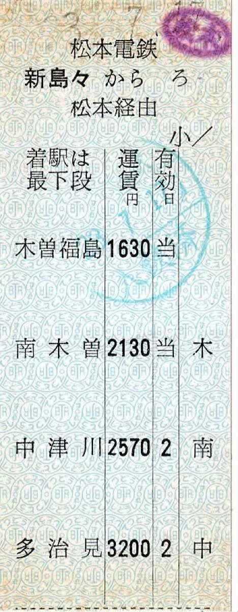 アルピコ交通松本電鉄 新島々駅 JR連絡準常備式片道硬券乗車券「ろ」