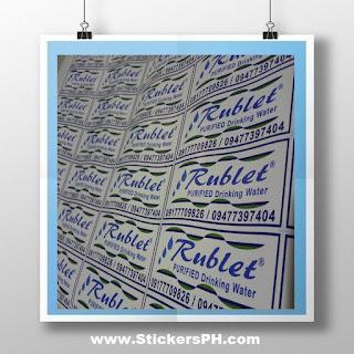 Waterproof Vinyl Sticker Labels - Rublet Purified Drinking Water