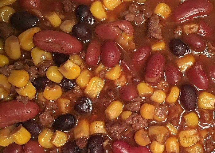 taco soup, chili, corn, beans