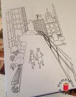 drawing sketching people walking on High Line in NYC