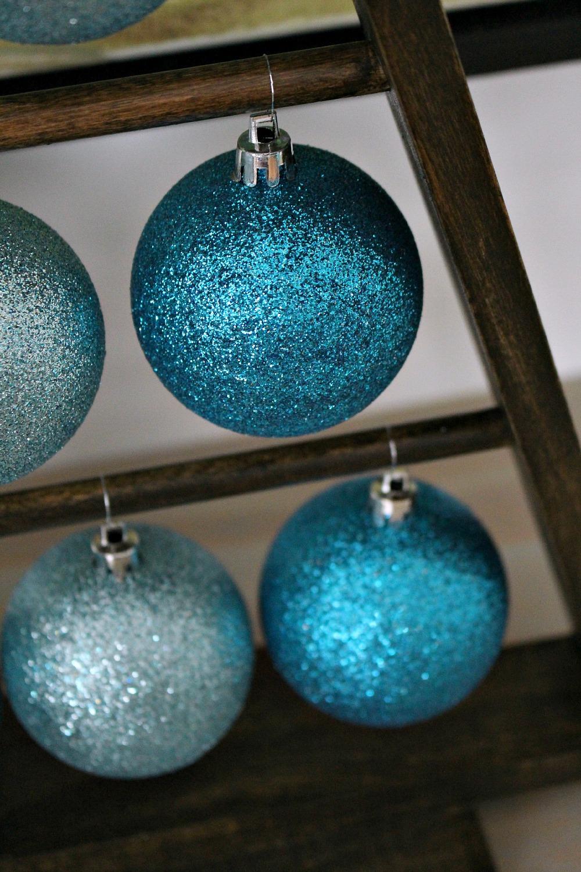 Glittering Teal Ornaments
