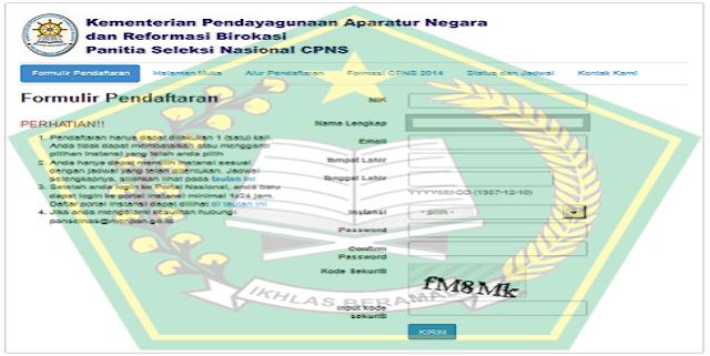 Formulir Pendaftaran Online Pendaftaran CPNS