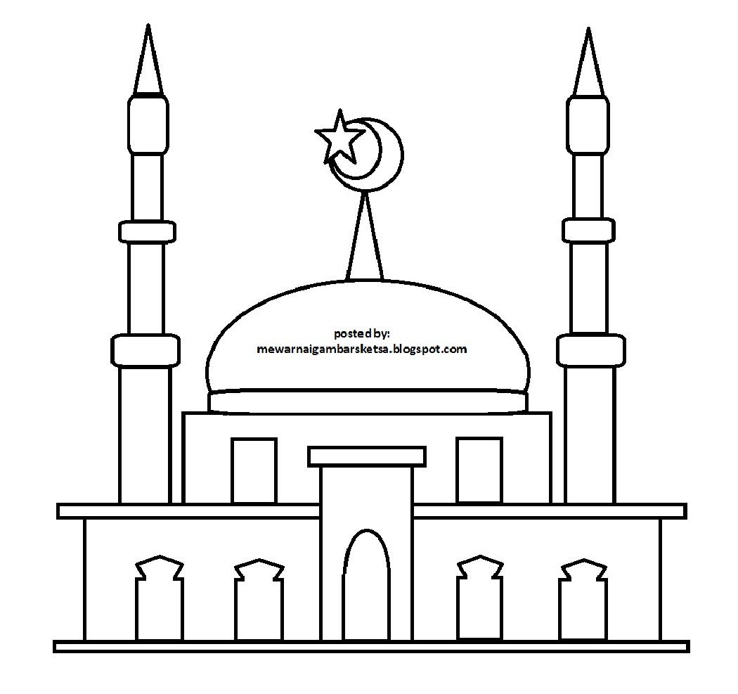 Gambar Mewarnai Gambar Sketsa Masjid 35 Contoh Kolase Di Rebanas