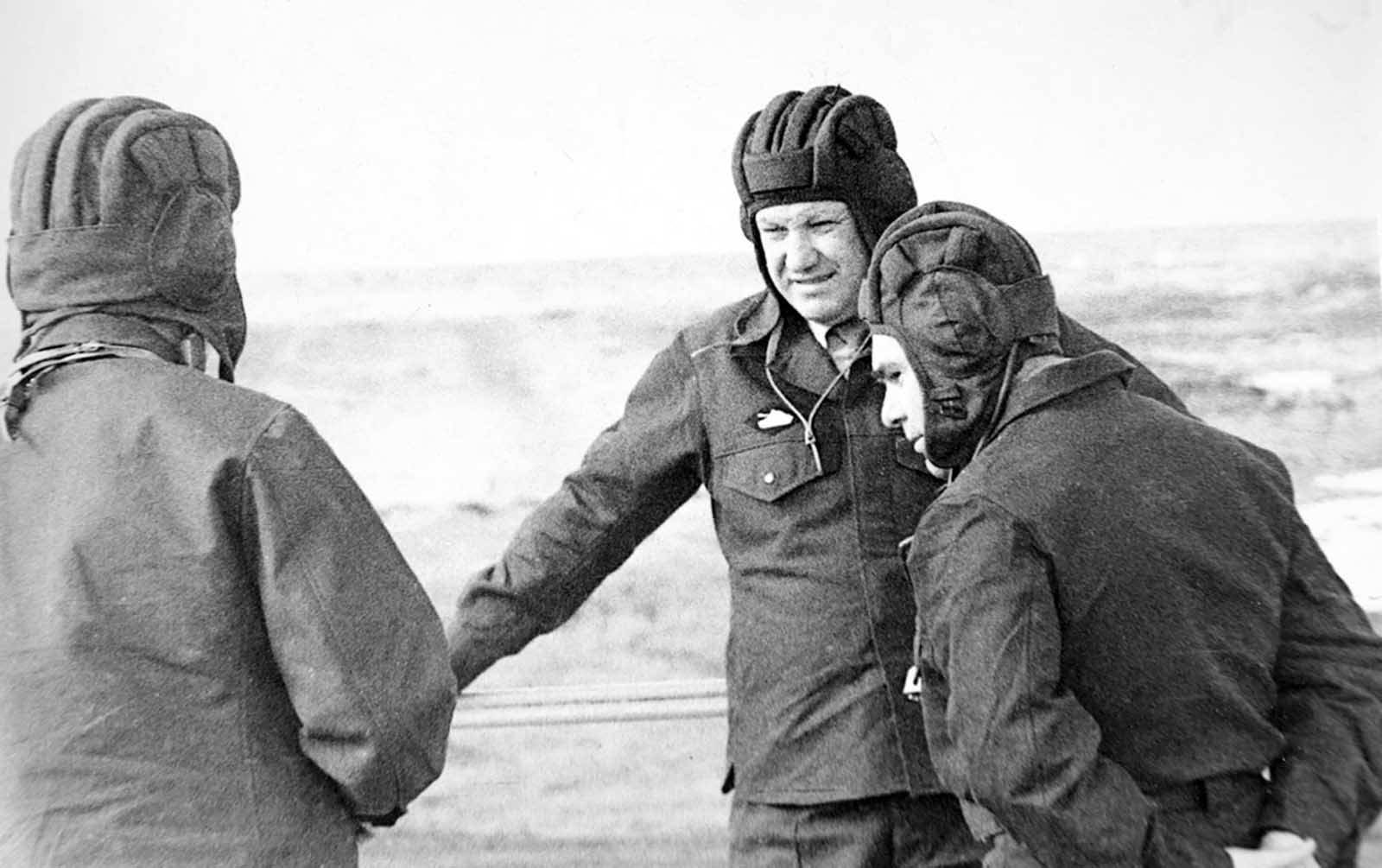 Yeltsin visiting the military drill of the Soviet army in Sverdlovsk region. 1980s.