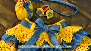 Pollera de volados crochet combinada con jean