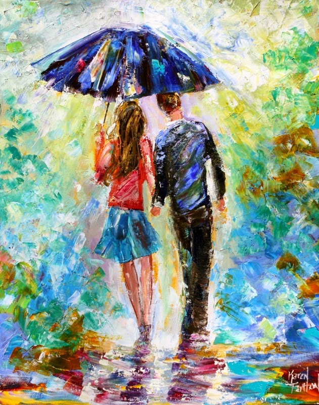 Karen Tarlton: Original oil painting Love in the Rain by ...