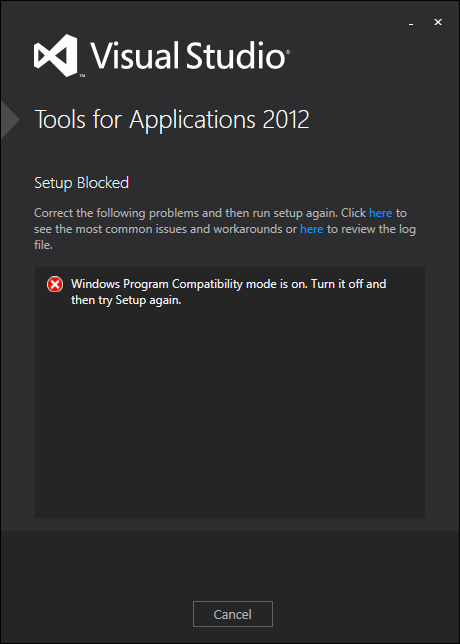 Installing Visual Studio Tools for Applications 2012 after getting