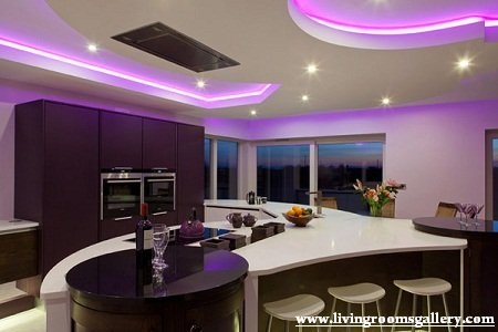 Unique False Ceiling Designs For Kitchen with LED lighting