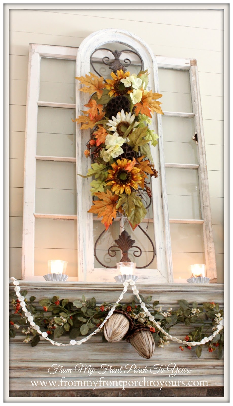From My Front Porch To Yours- French Farmhouse Fall Mantel 2014