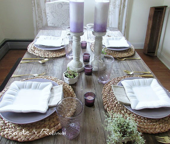 Quick and easy tablescape for summer using purple and white dishes