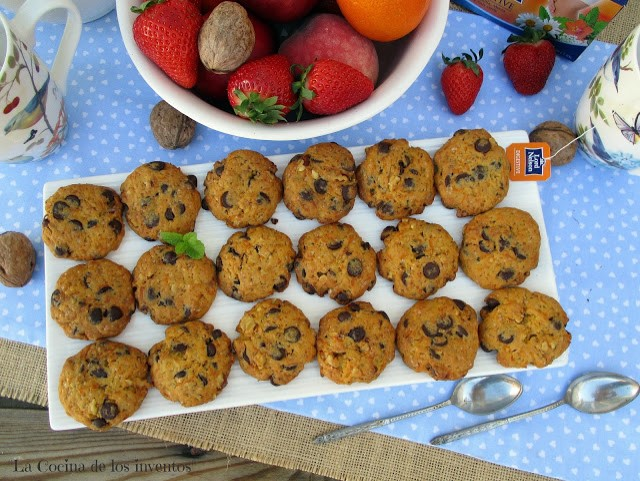 carrot-chocolate-cookies, galletas-de-zanahoria-chocolate-y-nueces