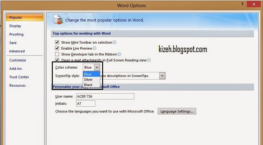 Cara mengubah warna microsoft word 2007