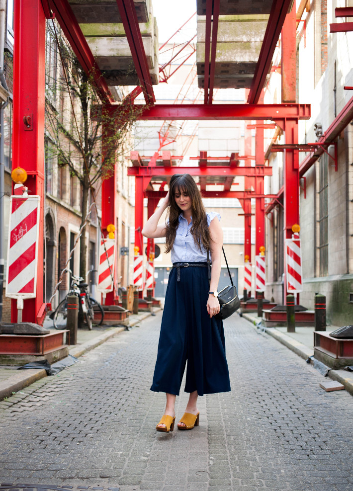 Outfit: culottes and yellow platform clogs