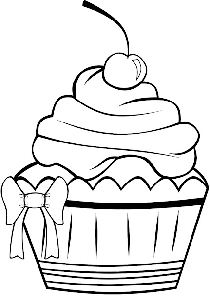 Cute Cupcake Coloring Page