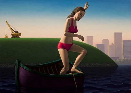 "John Tarahteeff - ""Bather - Chasing the Anchor"" - acrylic on canvas 