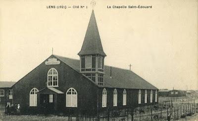 Chapelle polonaise St Edouard de Lens devenue église St Elisabeth après la Grande Guerre (carte postale)