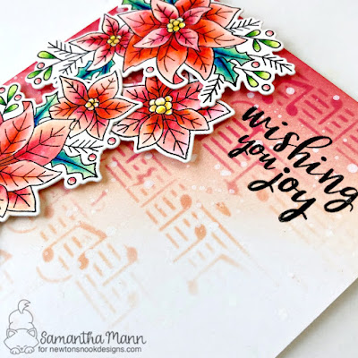 Wishing You Joy Card by Samantha Mann for Newton's Nook Designs, Deck the Halls with Inky Paws, blog hop, Poinsettia, cards, Christmas, distress inks #inkblending #newtonsnook #distressinks #christmas #christmascard #cards